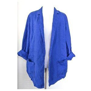 CHICO'S 3 Blue Linen Blazer Topper Jacket XL 16